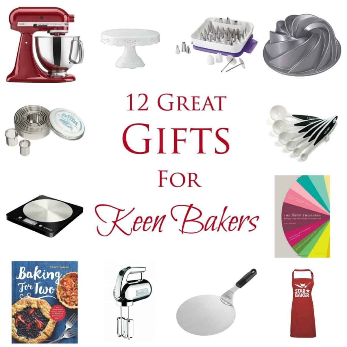 Collage of gifts suitable for bakers with text overlay