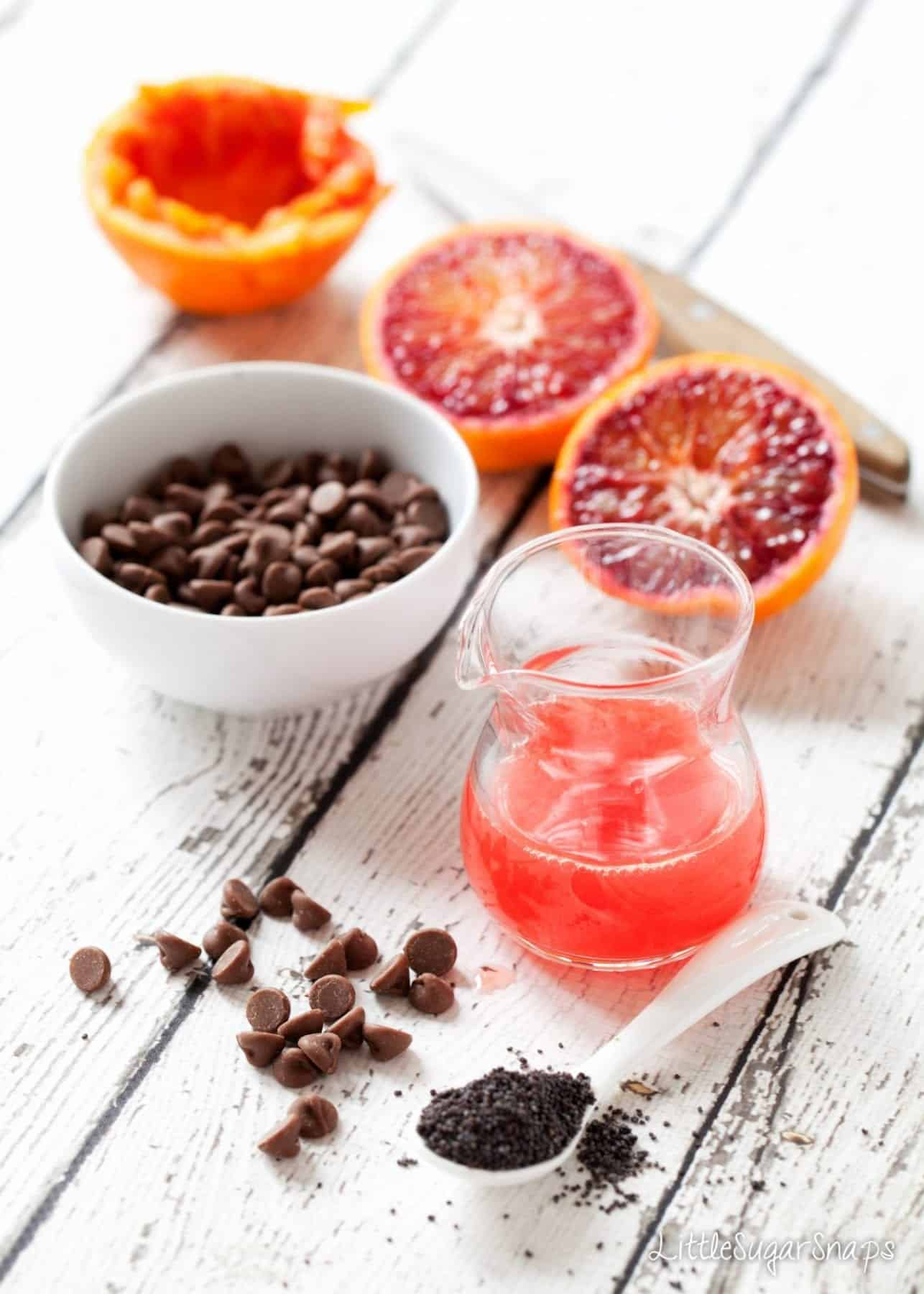 Ingredients: blood ranges & juice, chocolate chips and chia seeds