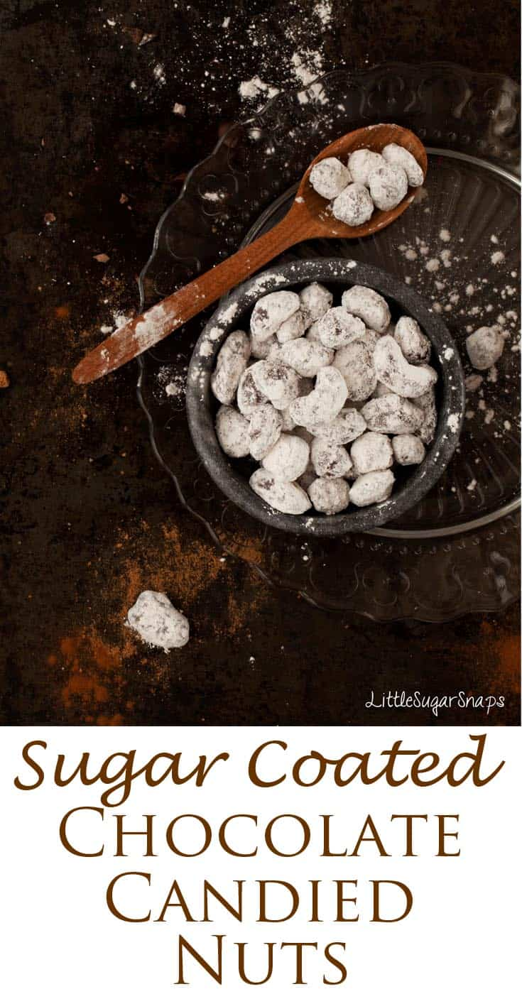 Chai Spiced Candied Nuts dipped in chocolate and rolled in spiced powdered sugar are a delicious treat