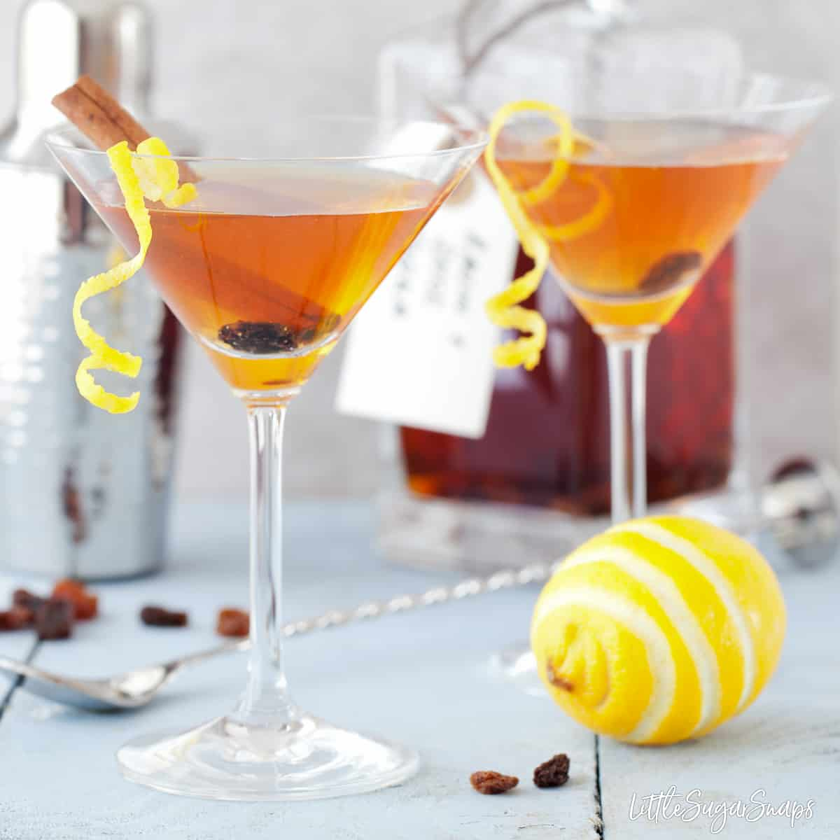 Easter Martinin inspired by Hot Cross Bun Flavours, garnished with lemon, cinnamon and raisin