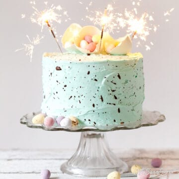 SPECKLED EGG CAKE FOR EASTER DECORATED WITH MINI EGGS AND SPARKLERS