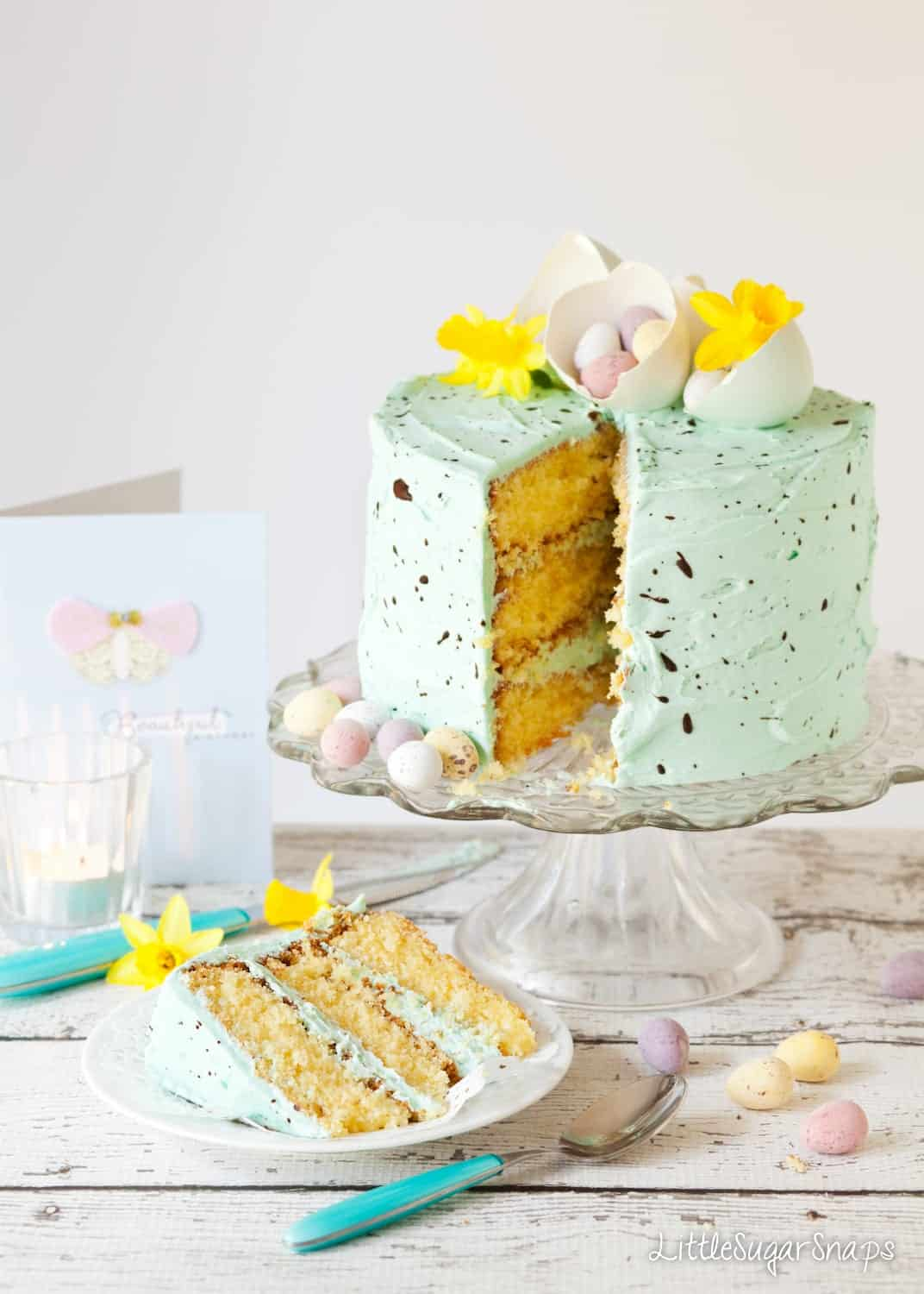 Speckled Egg Cake cut into with a slice on a plate.