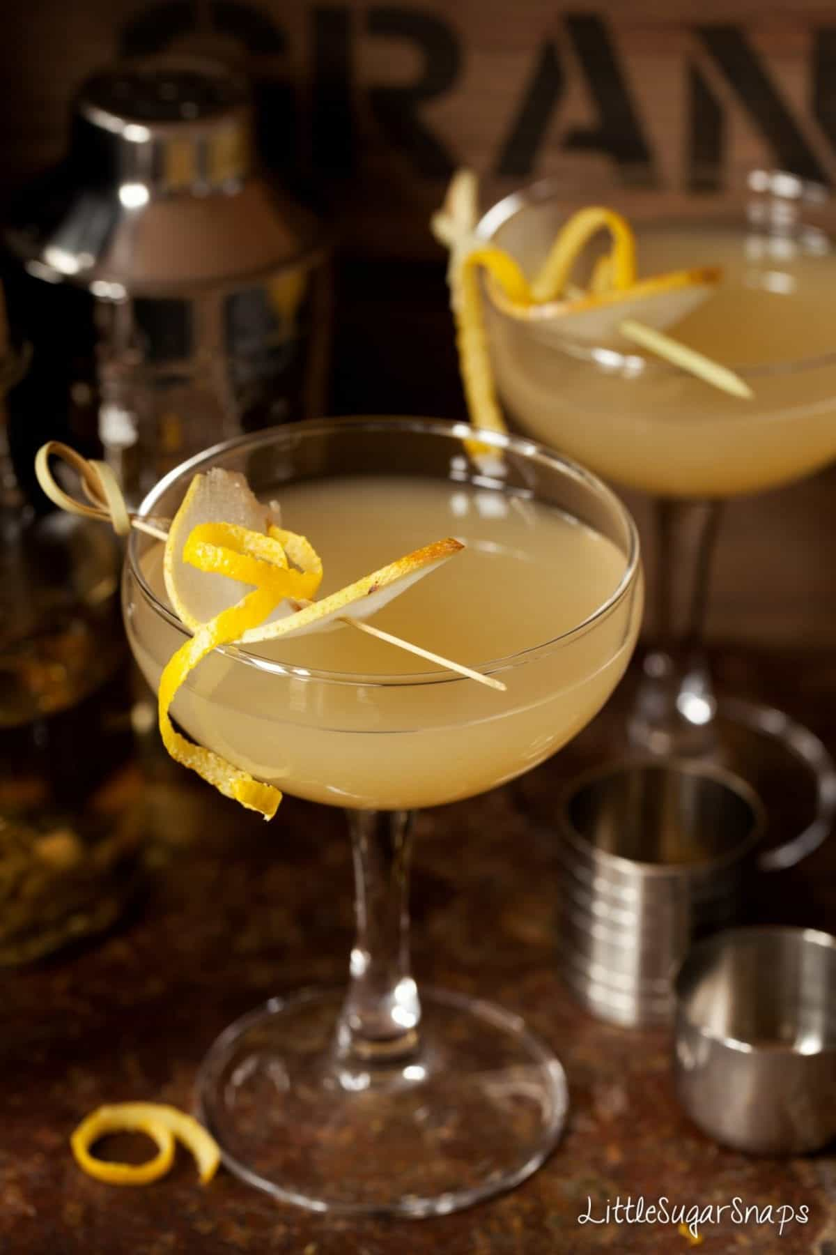 Pear Martini made with cardamom vodka and garnished with pear