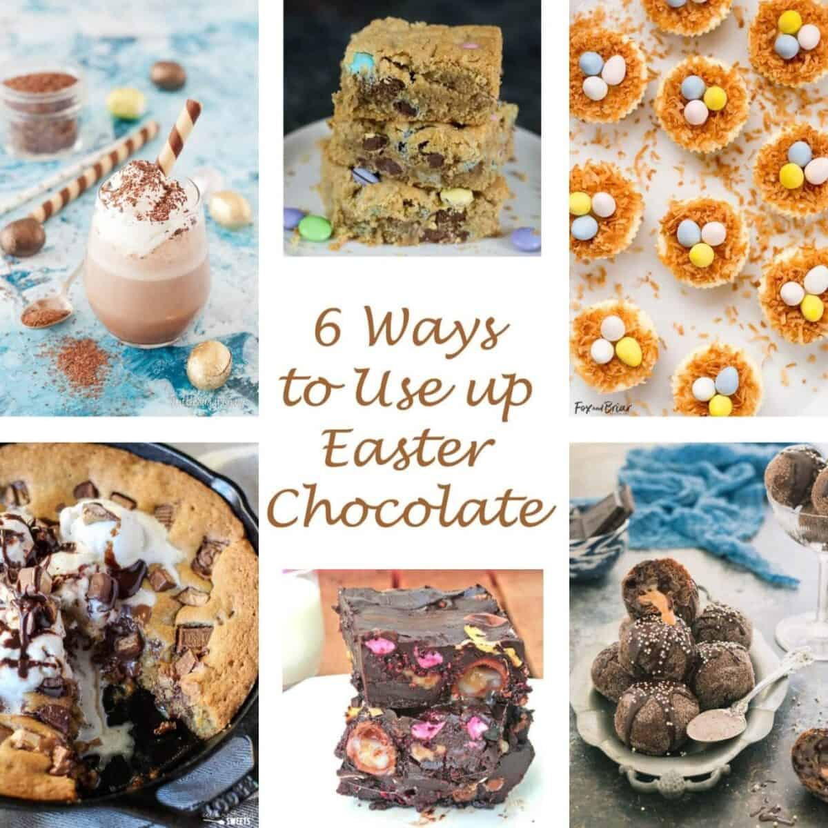 Collage of easter chocolate recipe with text overlay