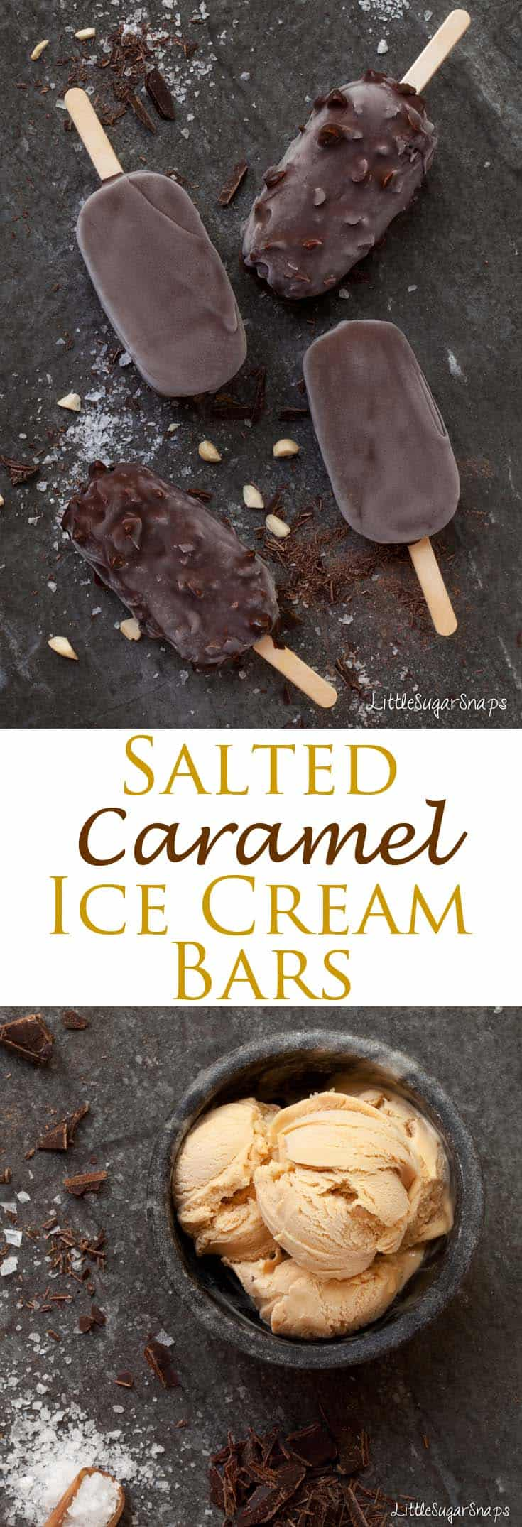 These Salted Caramel Ice Cream Bars are ultimate summer luxury – the crisp and crunchy chocolate shell hides a smooth and creamy, flavourful ice cream