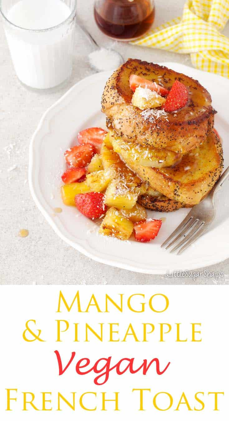 Tropical Vegan French Toast is a dazzling plateful of happy breakfast food. Stacks of yellow & golden fried bread, flavoured with mango & coconut come topped with griddled pineapple, coconut & strawberries