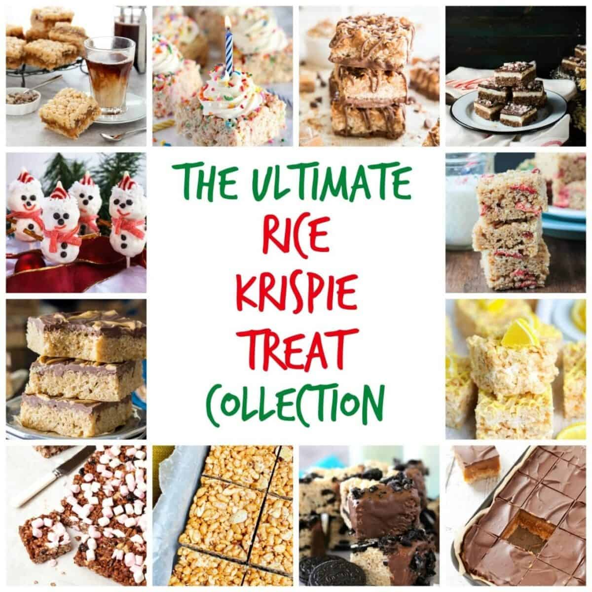 Collage of images featuring Rice Krispie Treats with text overlay