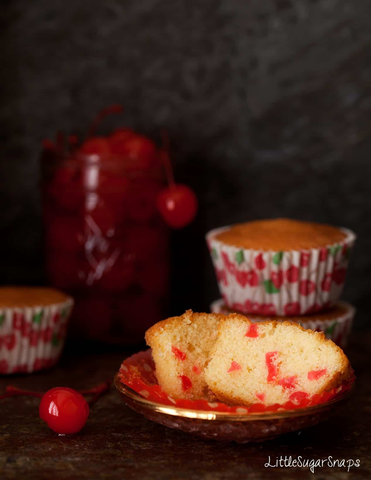 Maraschino Cherry Cupcake cut in half.