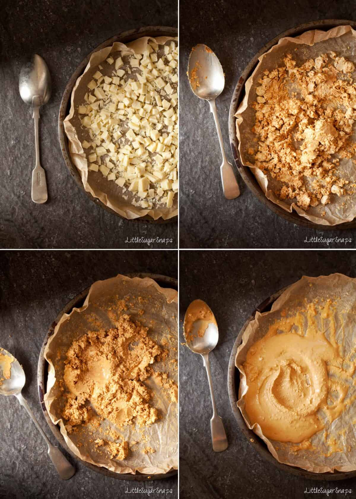 step by step images of making Caramelized White Chocolate