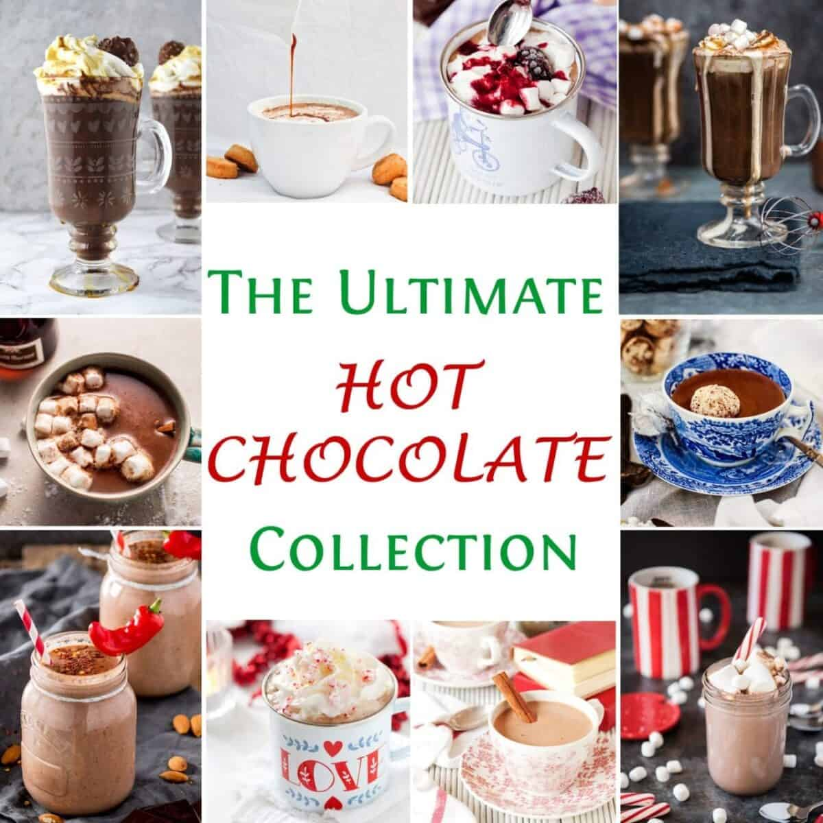 Collage of Hot Chocolate images with text overlay