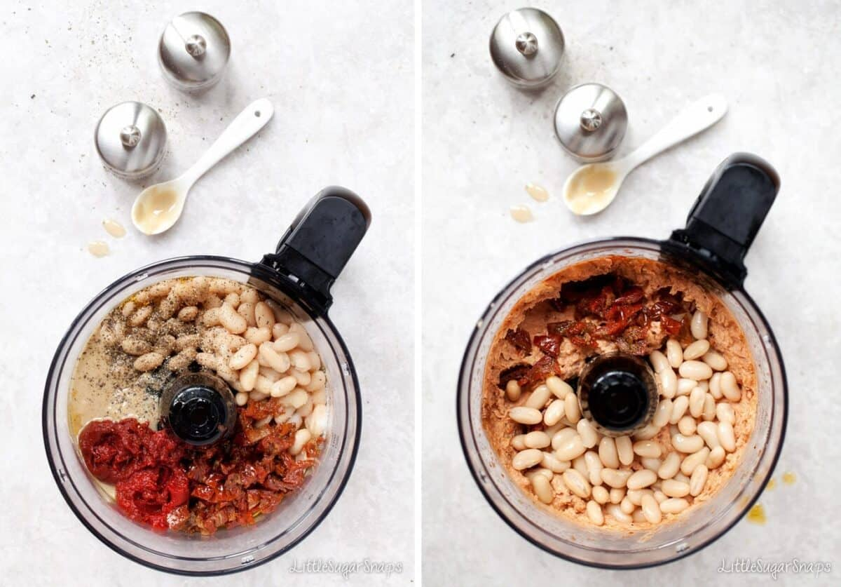 Process image of making White Bean Dip in a food processor.