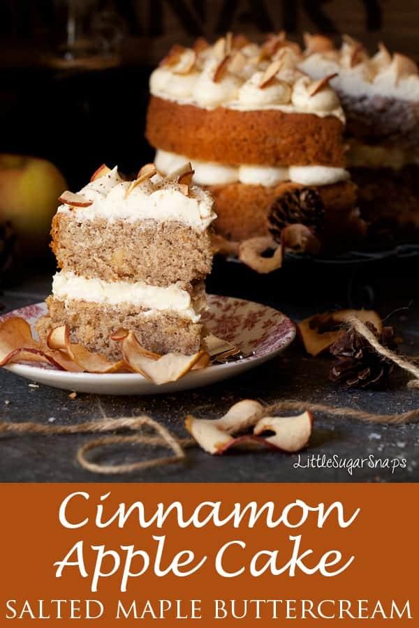 Cinnamon Apple Cake with Salted Maple Buttercream #cinnamonapplecake #spicedapplecake #cinnamonapple #cinnamoncake #applecake #maplebuttercream #maplesyrupbuttercream #maplefrosting #maplesyrupfrosting
