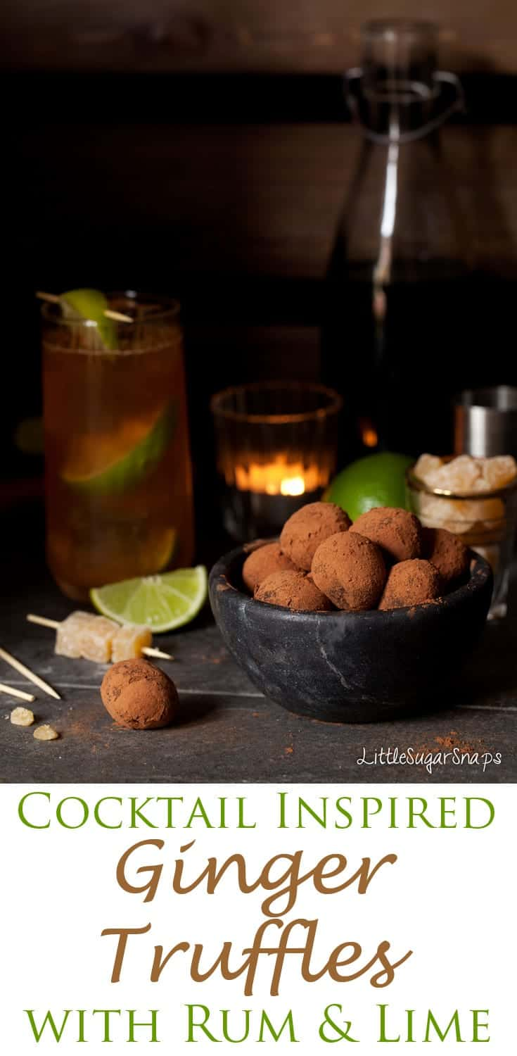 Cocktail inspired, these boozy Ginger Truffles feature rum, ginger & lime. Dark chocolate marries with the flavours to deliver velvet soft treats.