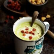 Celeriac and Blue Cheese Soup with croutons and crispy bacon
