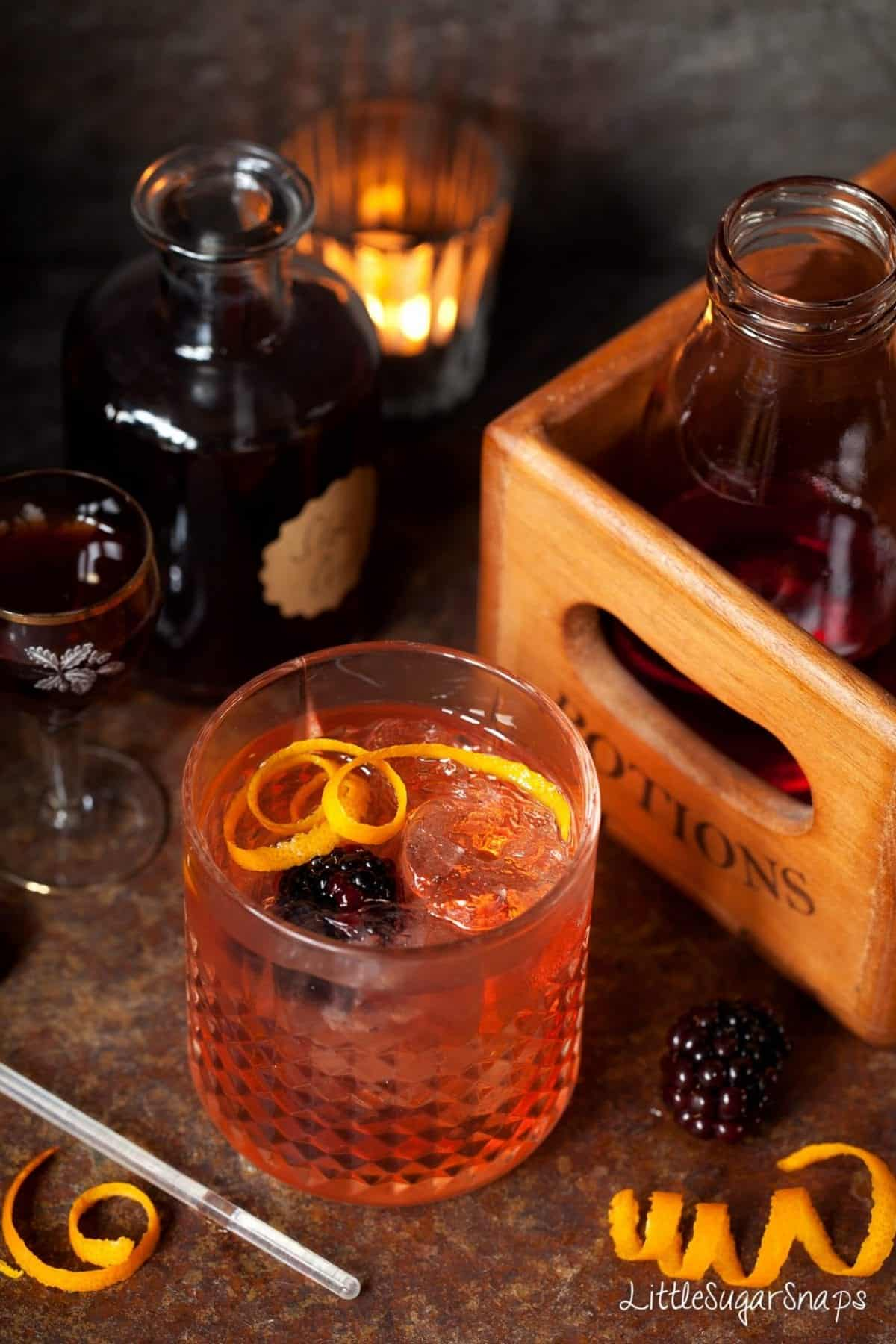 Winter Gin & Tonic made with sloe gin and campari