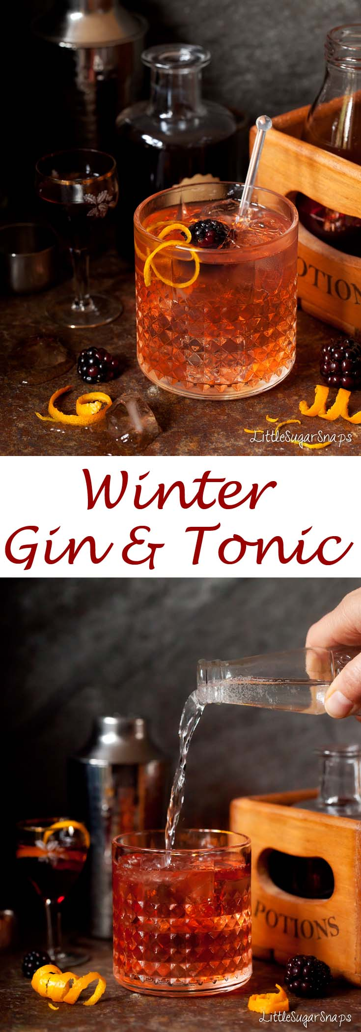 The Winter Gin & Tonic is a twist on the classic G&T. A dash of elderflower liqueur, sloe gin & Campari team up with gin & tonic to create a drink with a pretty blush and a hint of fruit.