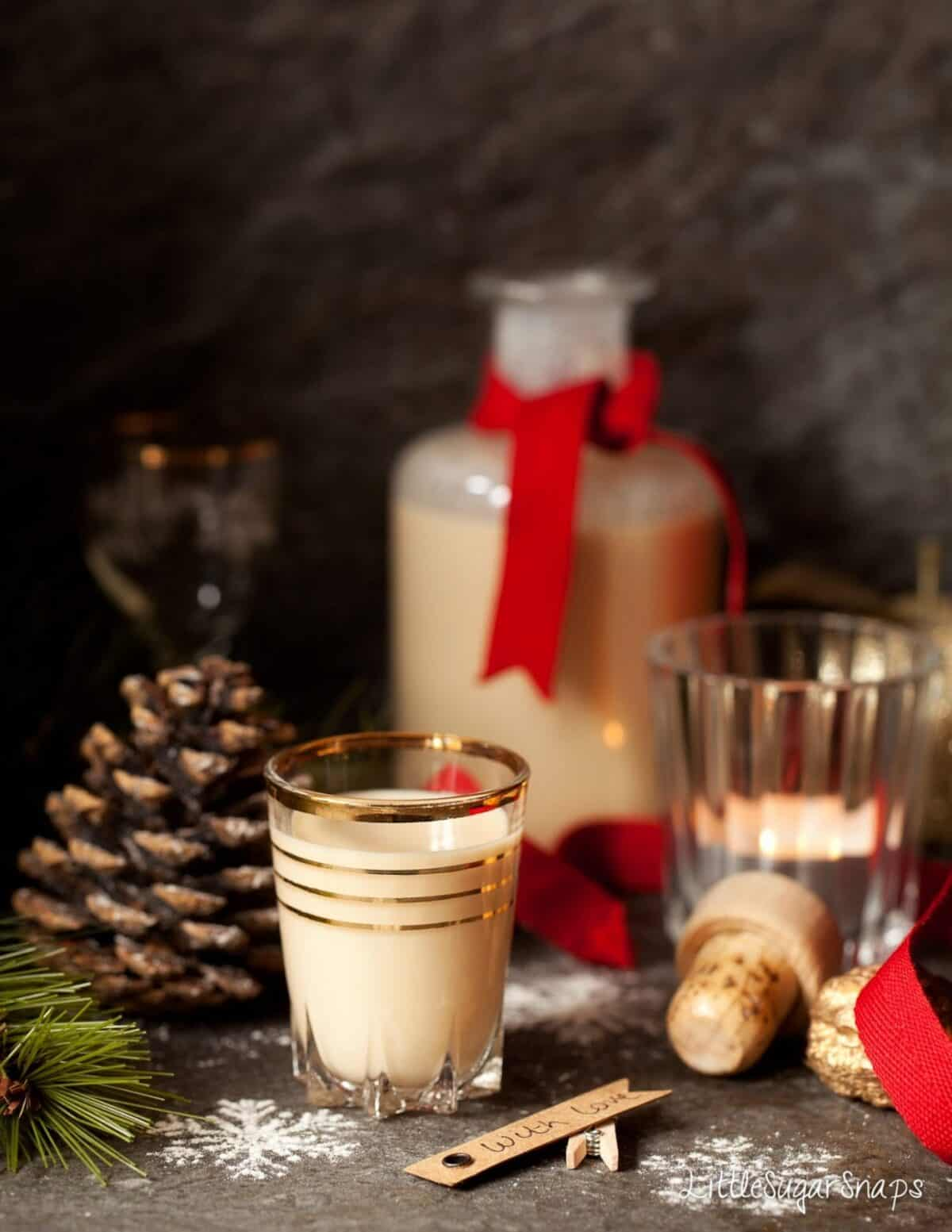 White Chocolate Liqueur in a small glass.