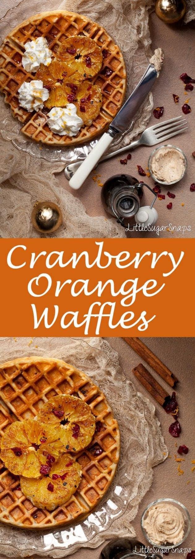 Cranberry Orange Waffles #christmaswaffles #cranberryorange #orangewaffles #waffles #festivewaffles