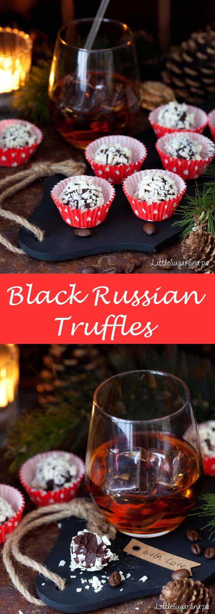 Black Russian Truffles #blackrussian #coffeetruffles #boozytruffles #cocktailtruffles #kahluatruffles