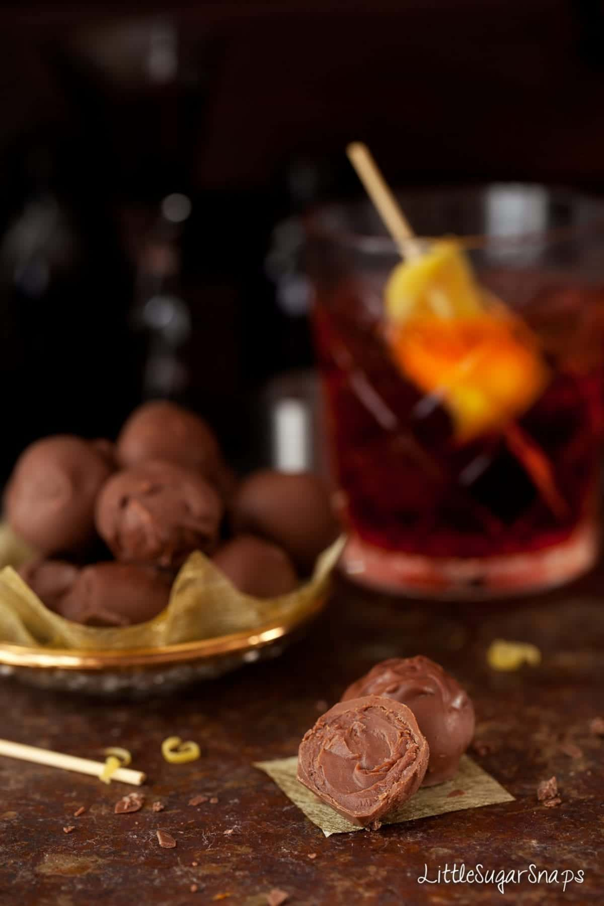 A bitten into Negroni flavoured Truffle.