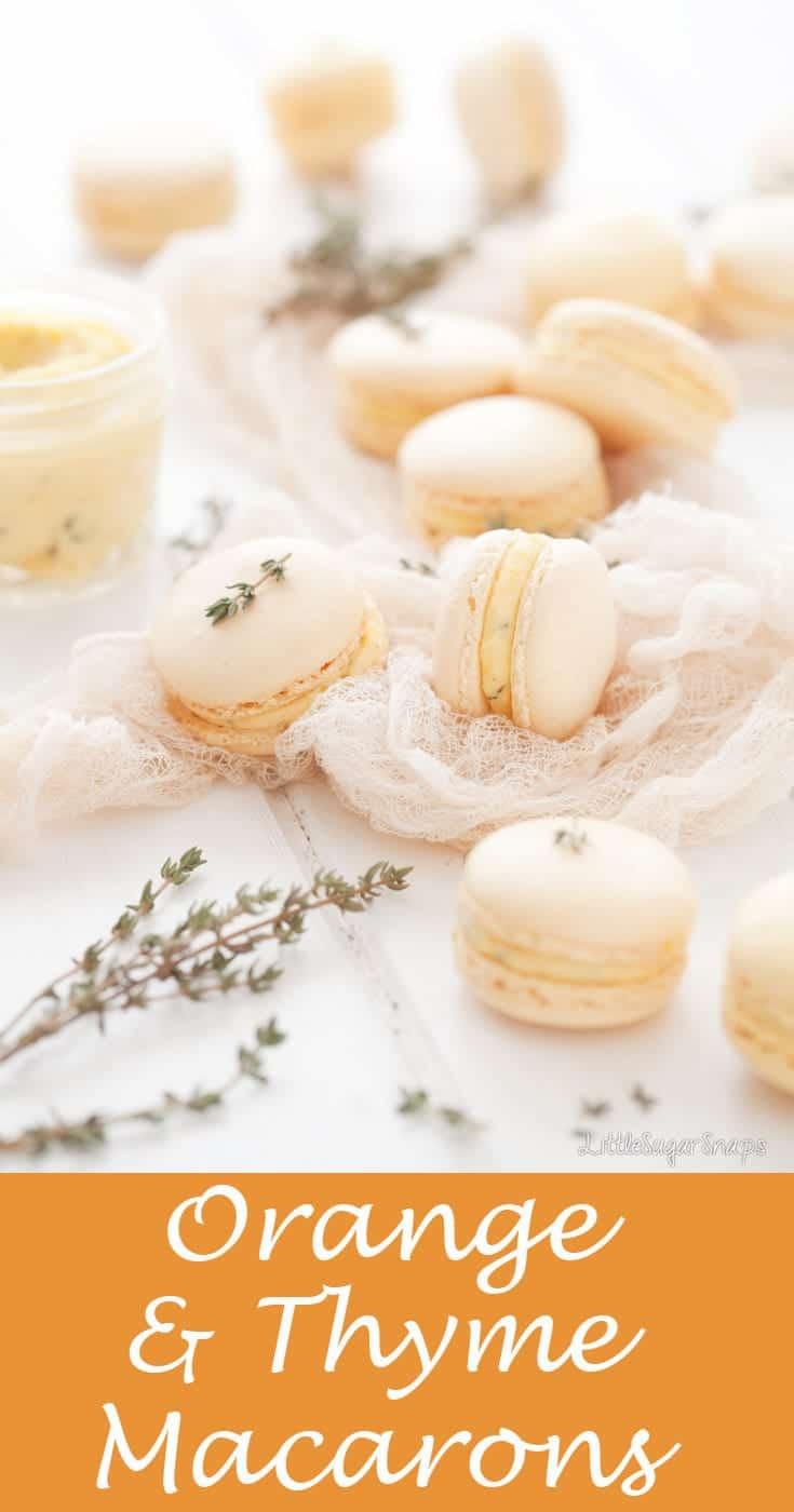Orange & Thyme Macarons #macarons, #frenchmacarons #orangemacarons #thymemacarons