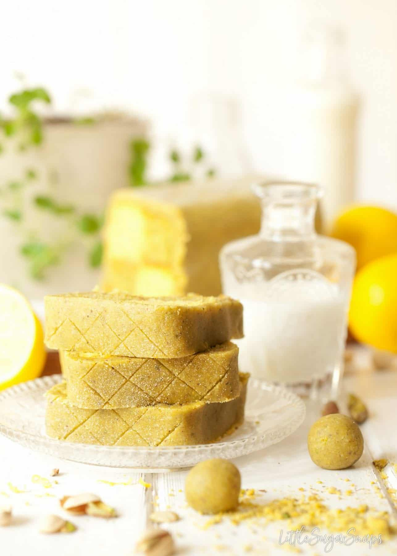 Pistachio Lemon Battenberg Cake