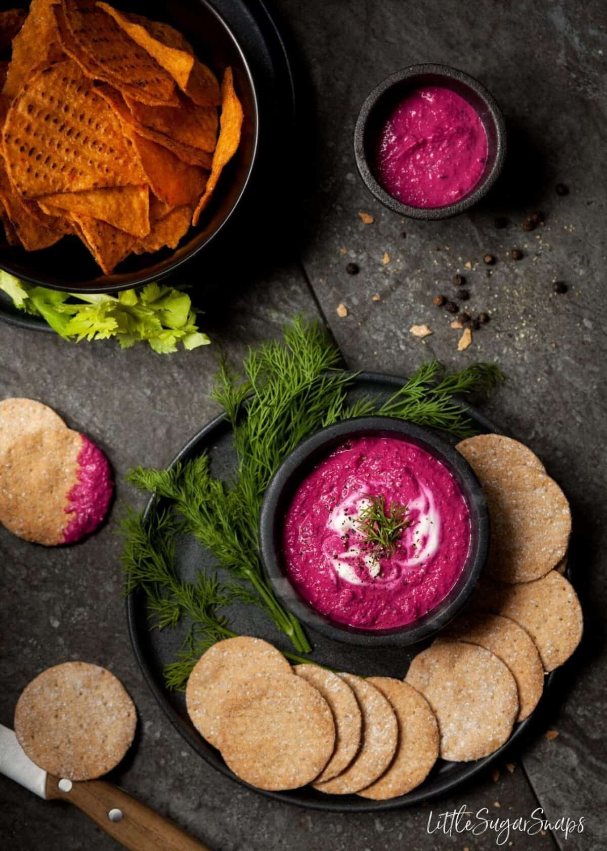 A healthy dip with crackers and tortilla chips.