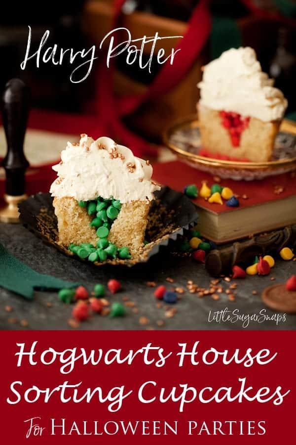 Harry Potter Sorting Hat Cupcakes #sortinghatcupcakes #harrypottercupcakes #butterbeer #pinatacupcake #hogwartshouses #halloweencupcakes