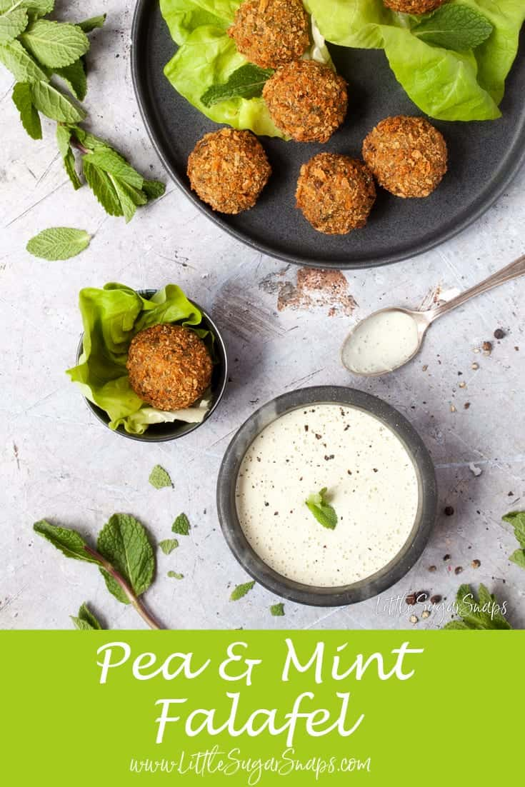 Mint & Pea Falafel with Minted Tahini Sauce #peafalafel #mintfalafel #mintpeafalafel #peamintfalafel #chickpeas