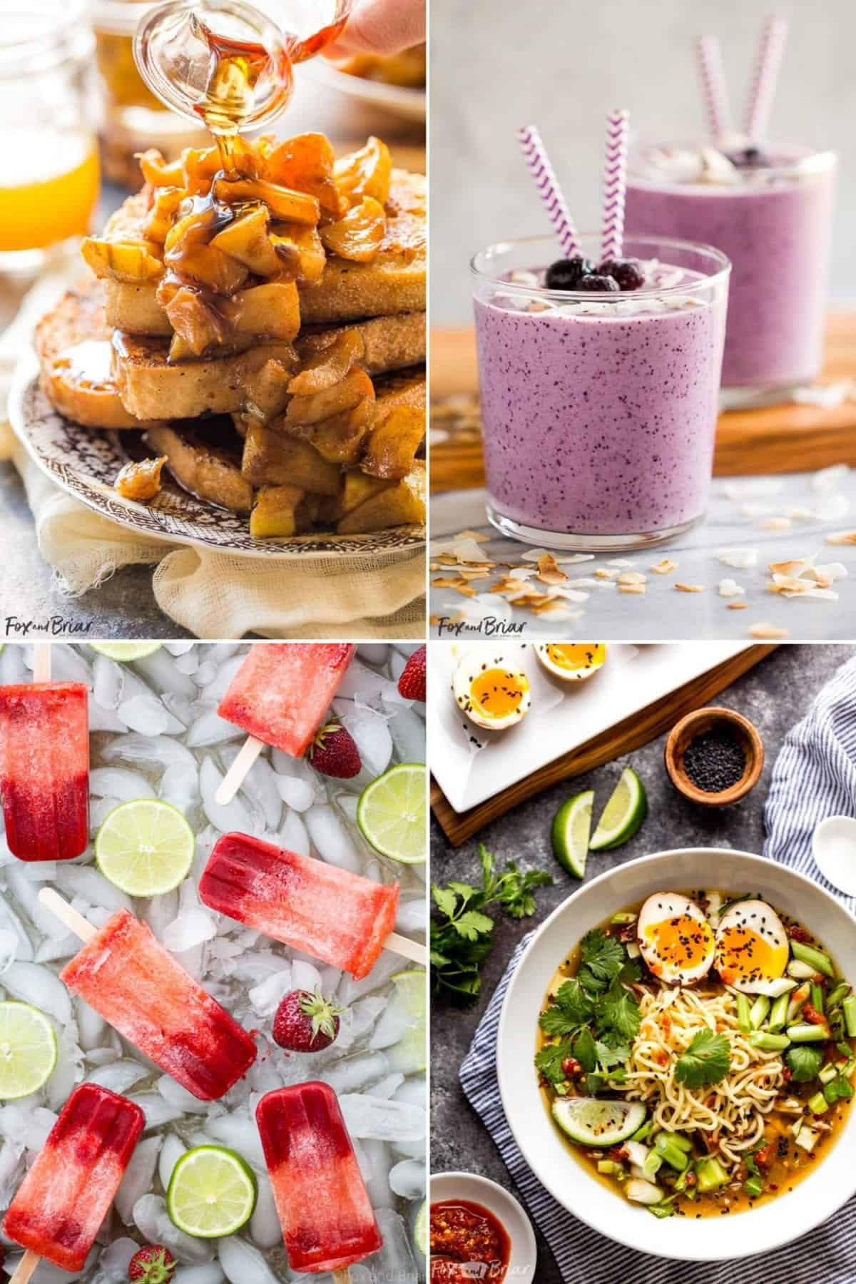 Collage of food images.