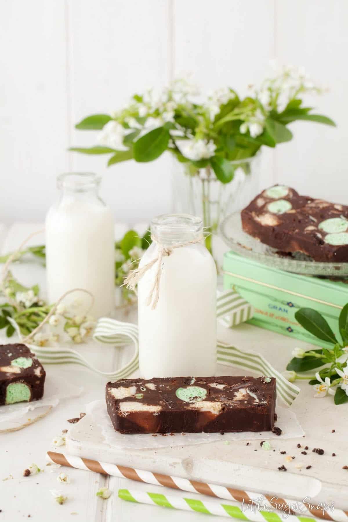 Mint Chocolate Fridge Cake served with milk.