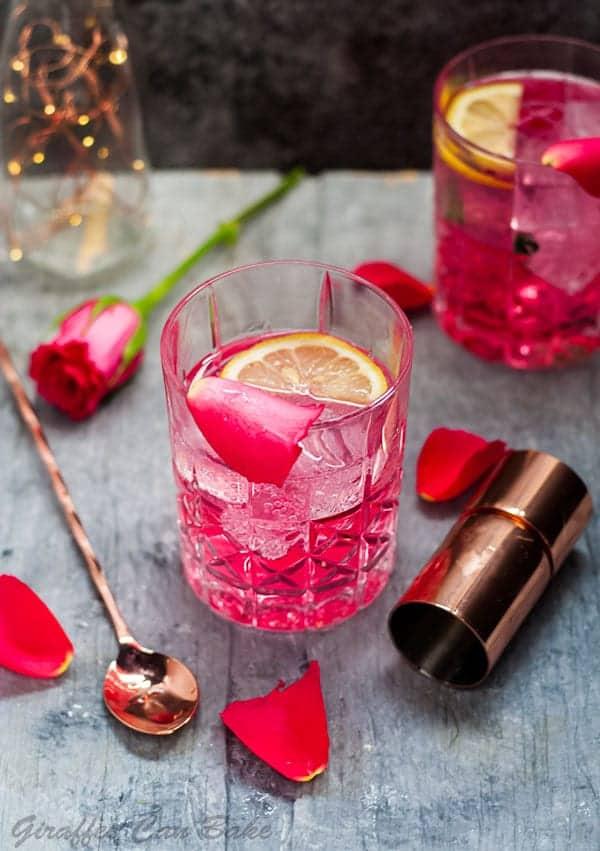 Rose vodka tonic.