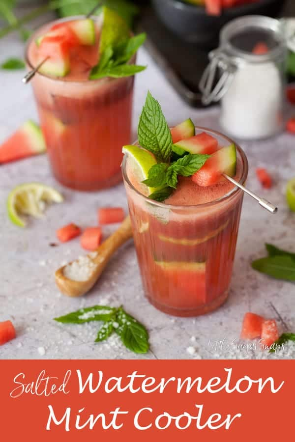 Salted Wastermelon Mint Cooler #watermeloncooler #watermelonmint #fruitcooler #saltydrink