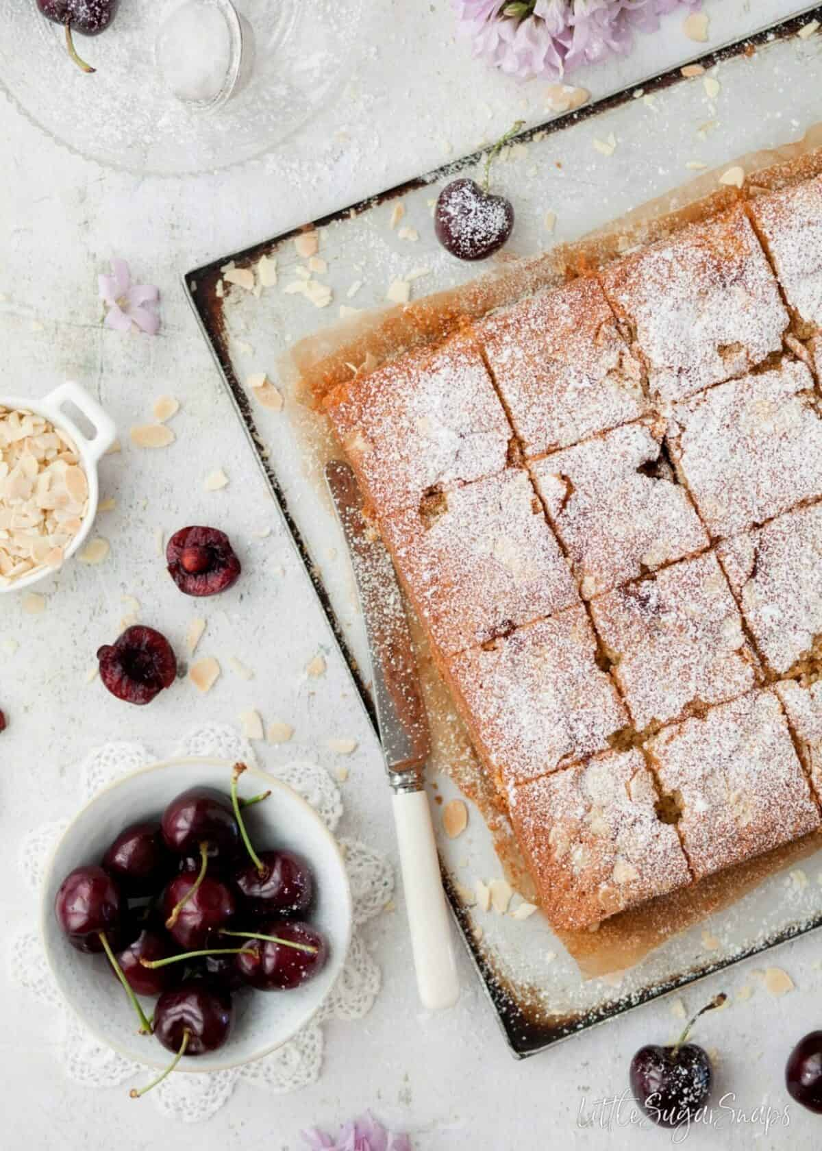 A cherry and almond cake dusted with icing sugar and cut into squares.