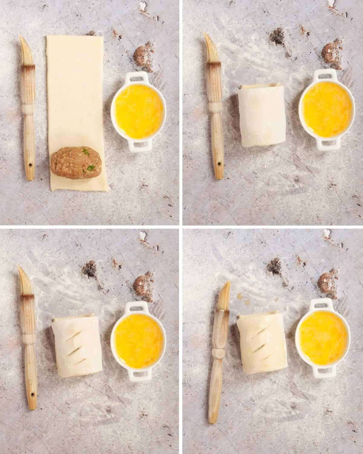 Step by step images for making lamb pastry rolls.