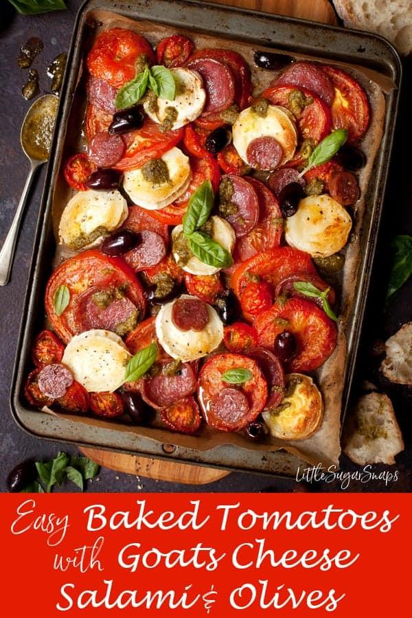 Baked Tomato with Goats Cheese #bakedtomatogoatcheese #bakedgoatcheese #goatcheesebake #tomatobake #italianplatter #bakedsalami #italianbake