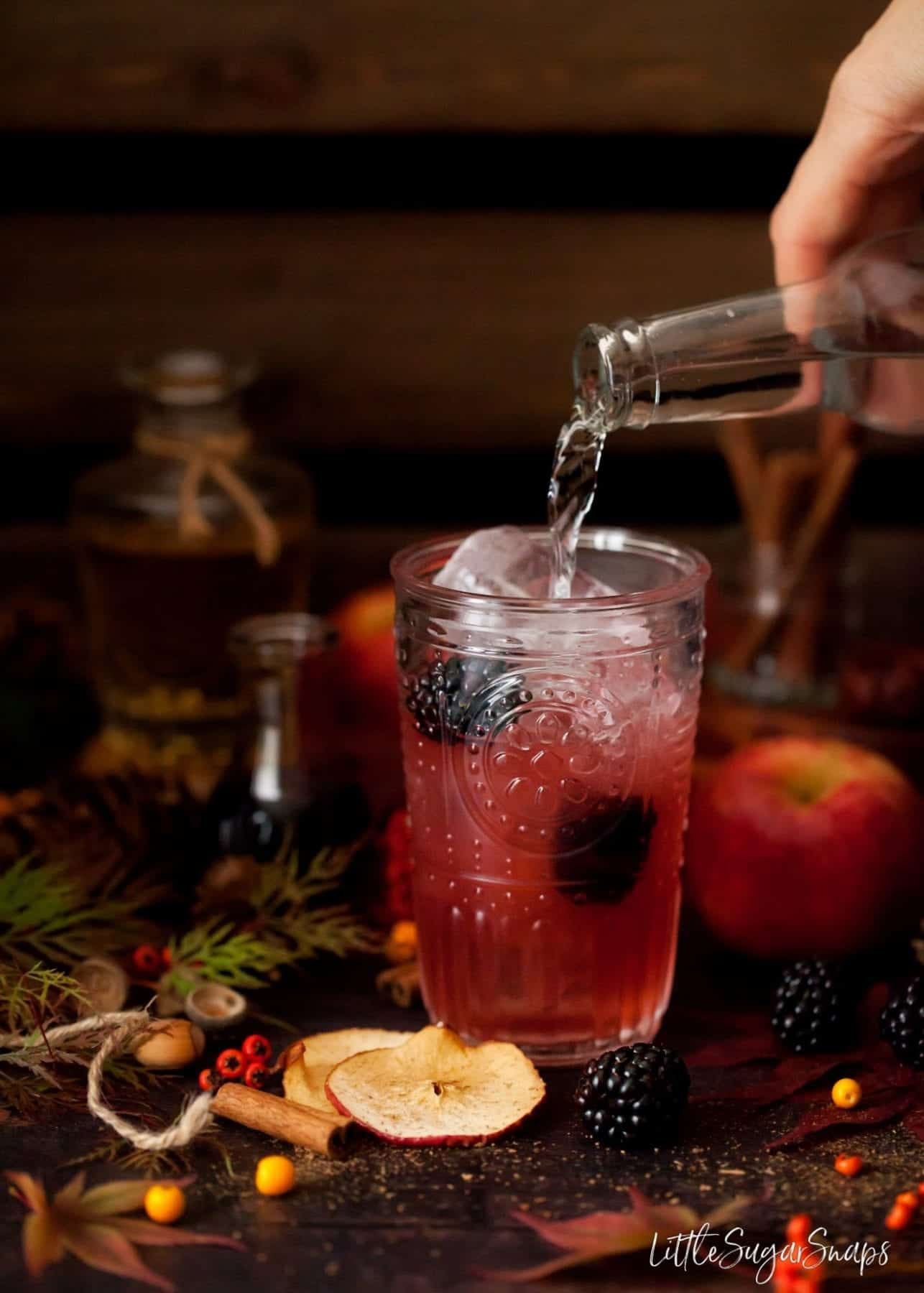 Person pouring tonic water into and autumnal flavoured drink.