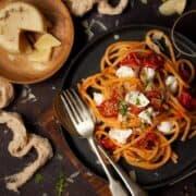 Slow Roast Tomato Rocket and Buffalo Mozzarella spaghetti