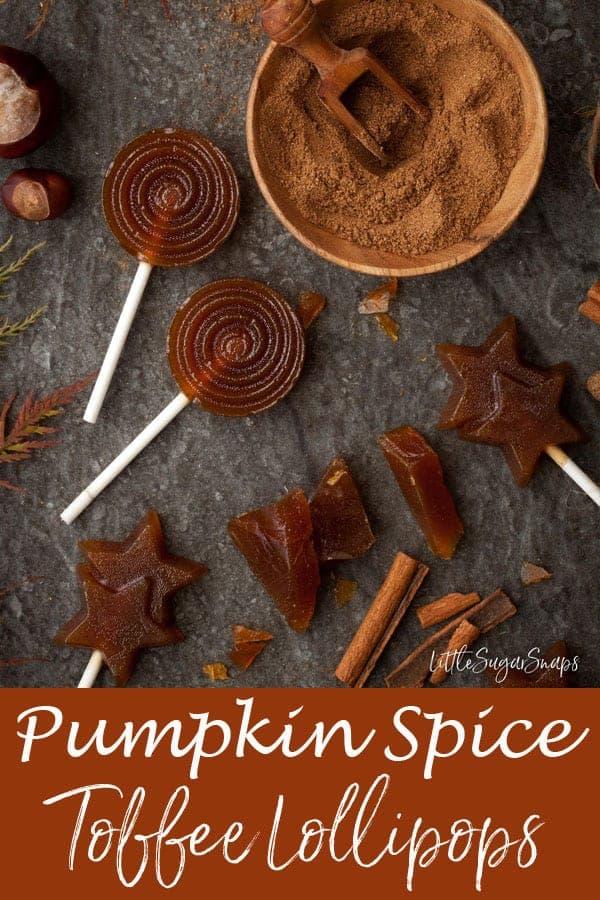Pumpkin Spice Toffee Lollipops #hardtoffee #englishtoffee #pumpkinspicetoffee #pumpkinspice #pumpkinspicecaramel #lollipop #toffeelollipop #caramellollipop