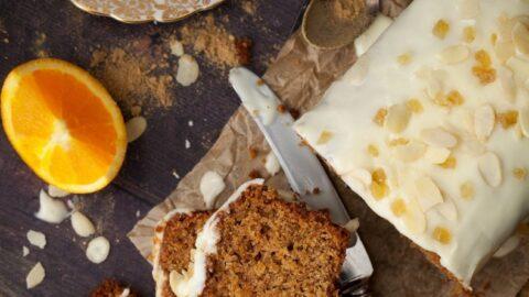 Vegan Ginger Loaf Cake with Orange & Almond - Littlesugarsnaps