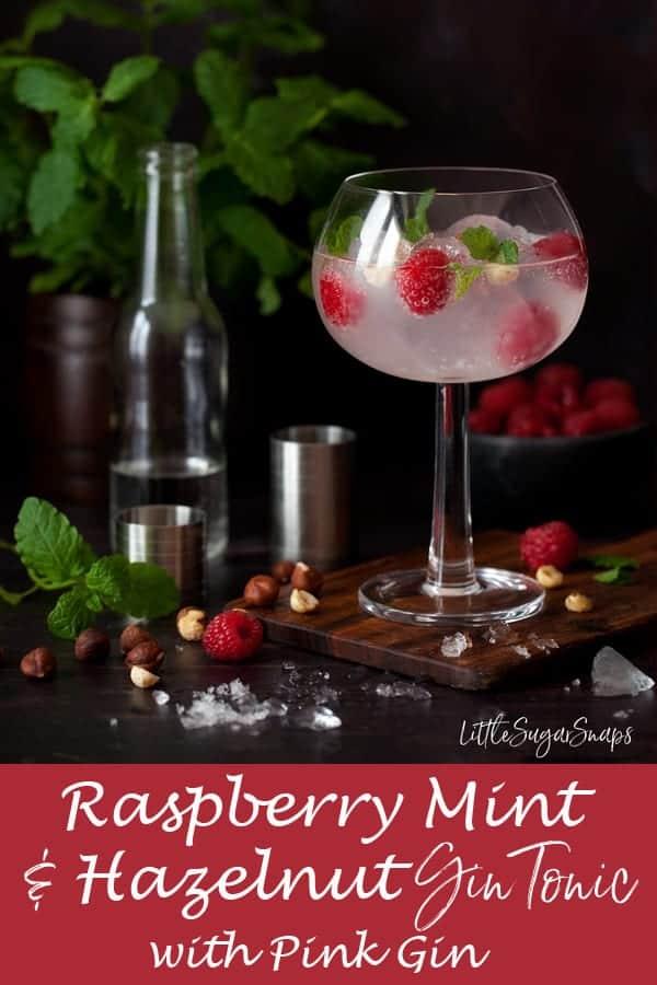 Raspberry Mint Gin Tonic with hazelnuts #g&t #gintonic #ginanadtonic #gin&tonic #pinkgin #pinkg&t #raspberrygin #rasberryg&t #raspberrygintonic