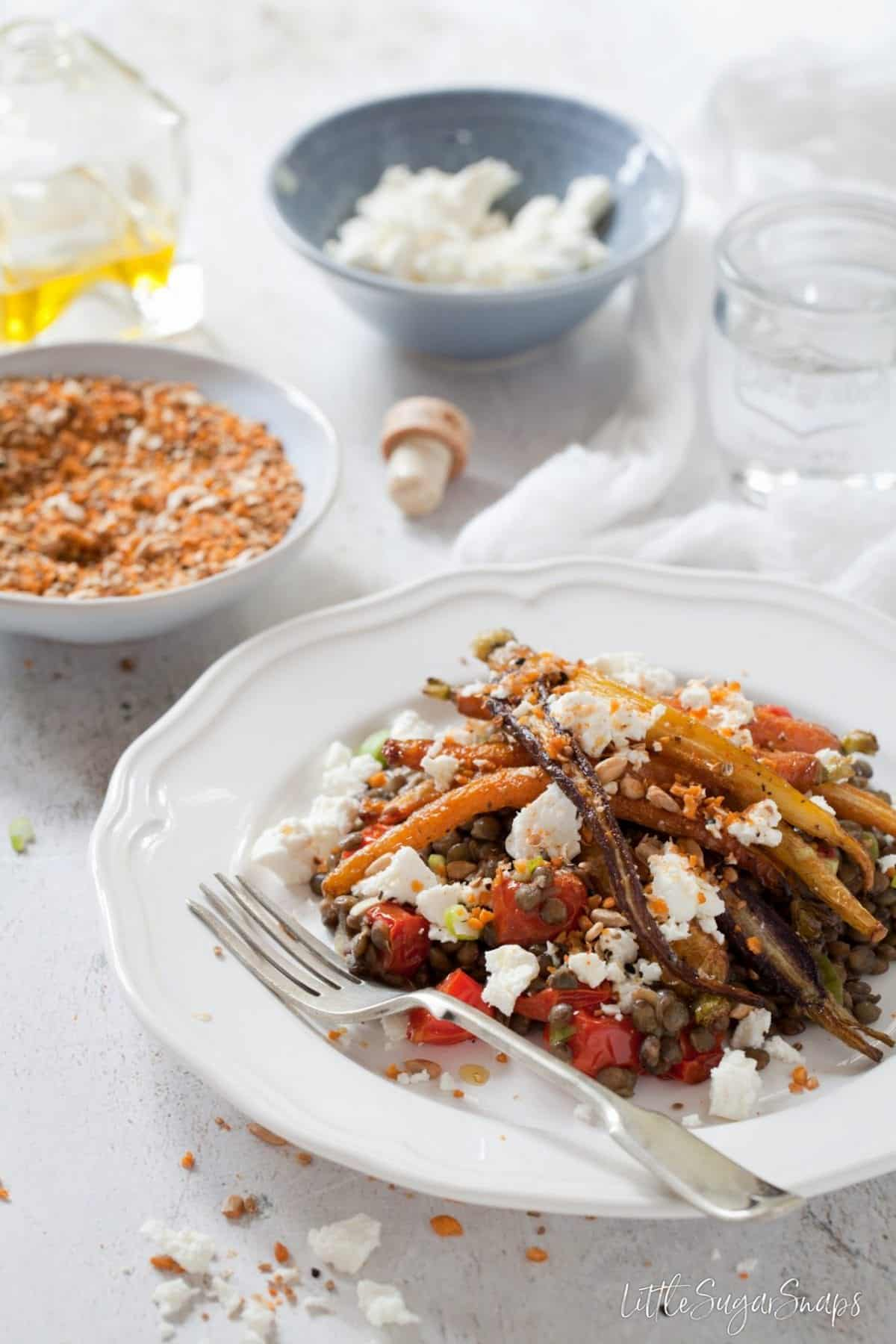 Warm Roast Carrot Lentil Salad