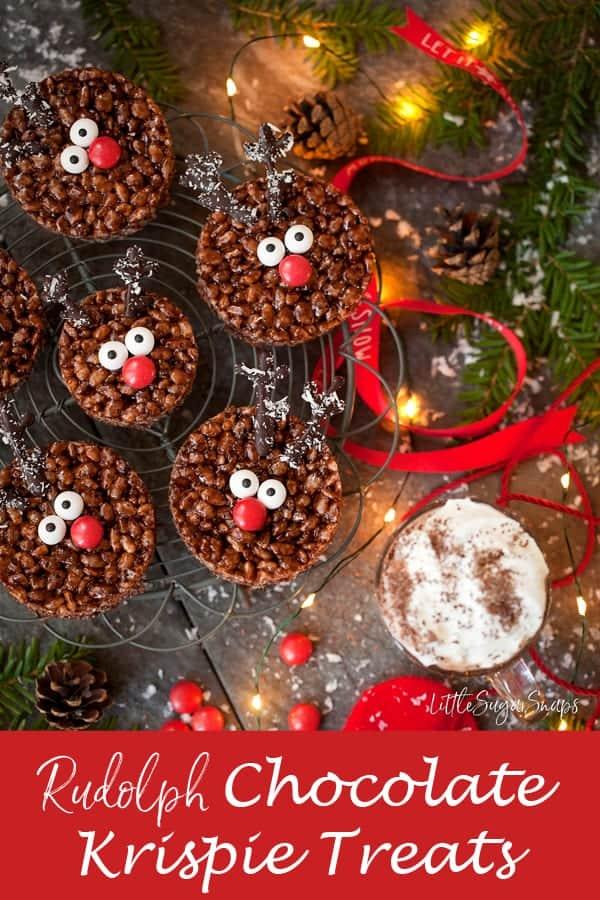Rudolph Rice Krispie Treats #ricekrispietreats #ricekrispies #chocolatekrispietreats #krispietreats #reindeerkrispietreats #christmaskrispietreats #rudolphkrispietreats