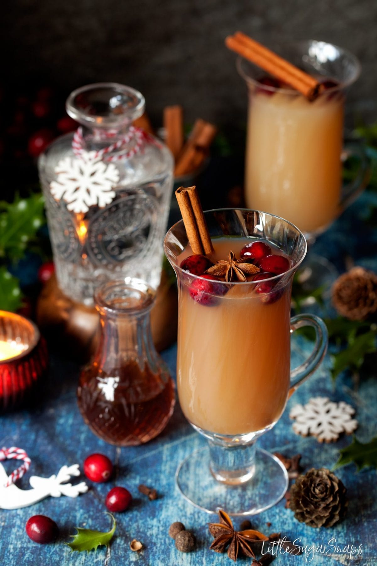 Christmas Mulled Gin and Tonic with apple juice. Served in ornate glasses with cranberries, star anise and cinnamon sticks, with spices lying around