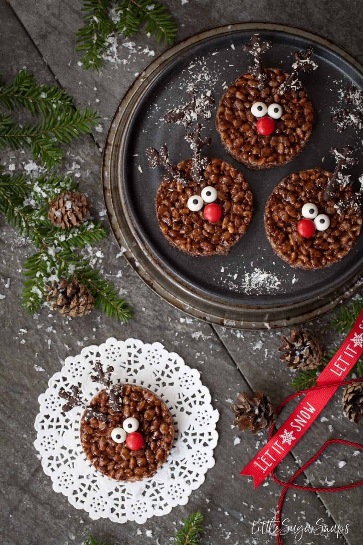 Rudolph Chocolate Rice Krispie Treats