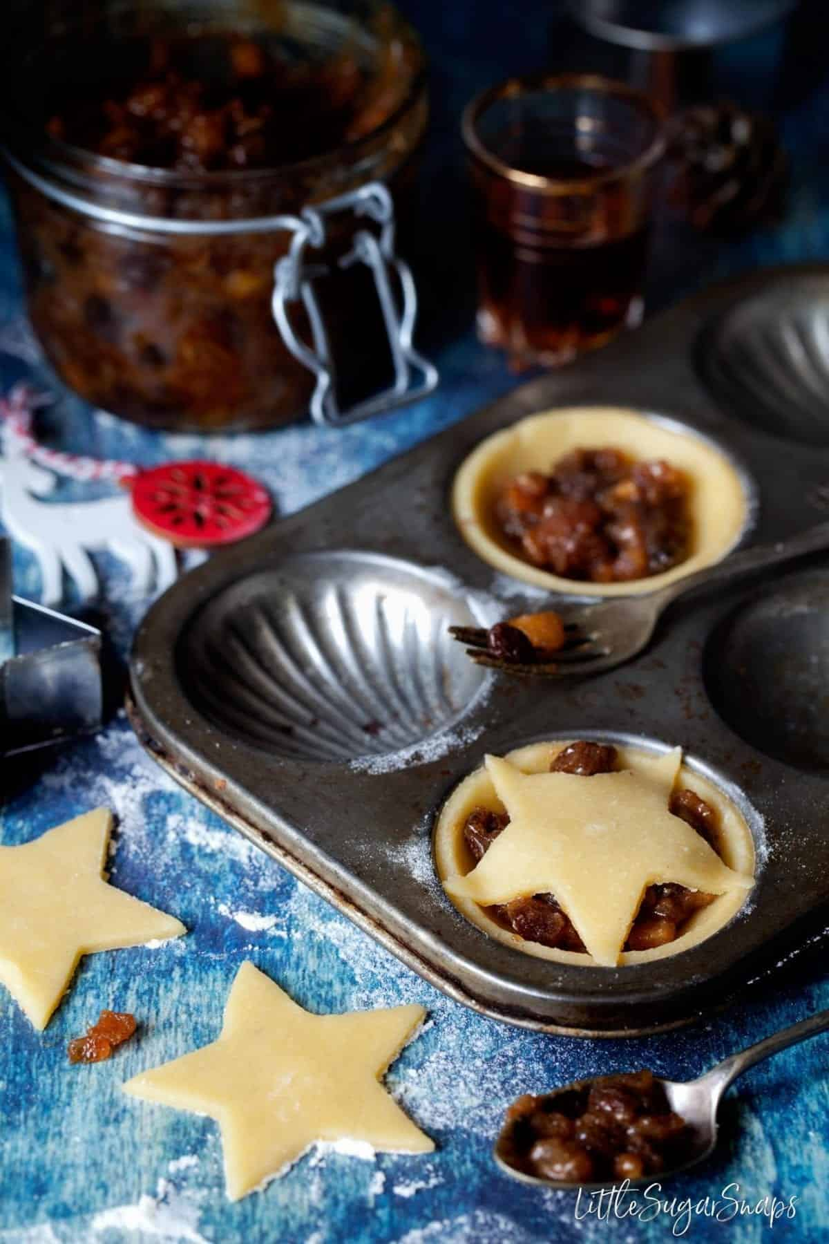 Gluten Free Mince Pies being made and placed in a vintage baking tin ready to cook