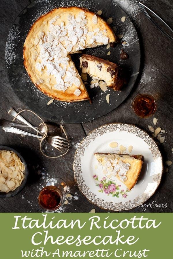 Italian Ricotta Cheesecake #italiancheesecake #ricottacheesecake #italianricottacheesecake #bakedcheesecake #tortadiricotta #amaretticrust #amarettocheesecake