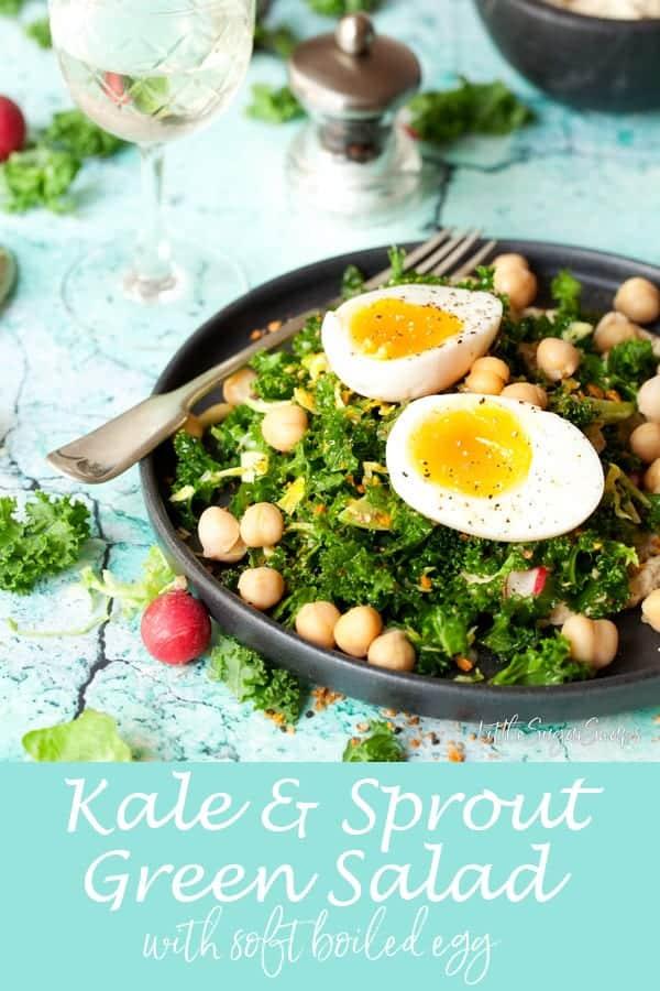 Kale & Sprout Salad with Soft Boiled Egg & Dukkah #kalesalad #massagedkale #kale #healthysalad #hummussalad #kaleandegg #sproutsalad #kaleandsprout
