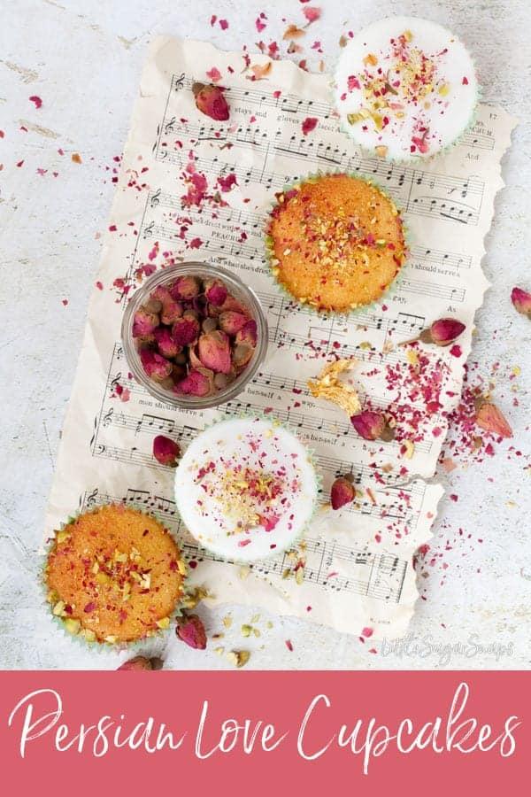 Persian Love Cupcakes #persianlovecake #persianlovecupcakes #lovecake #rosecake #valentinescake #valentinesday #saffroncake #turkishdelightcake