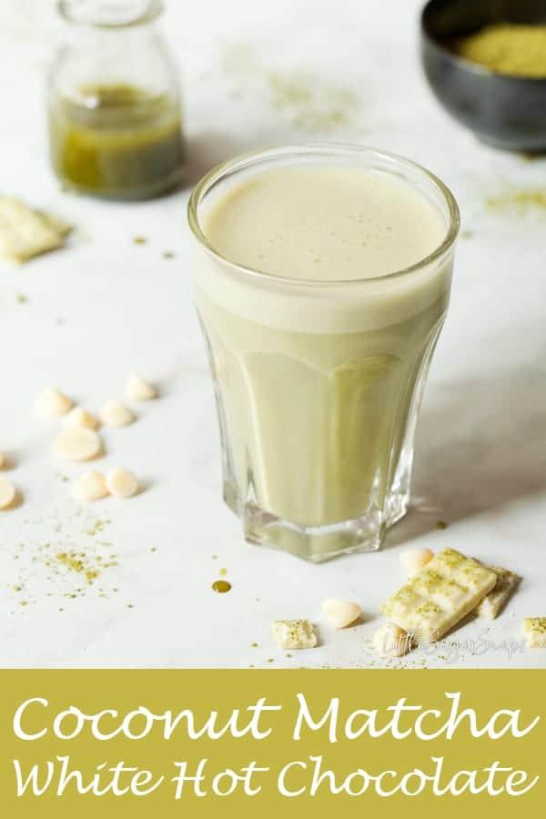 Coconut Matcha White Hot Chocolate #matcha #matcahhotchocolate #matchawhitehotchocolate #matchatea #matchadrink #matchawhitechocolate width=